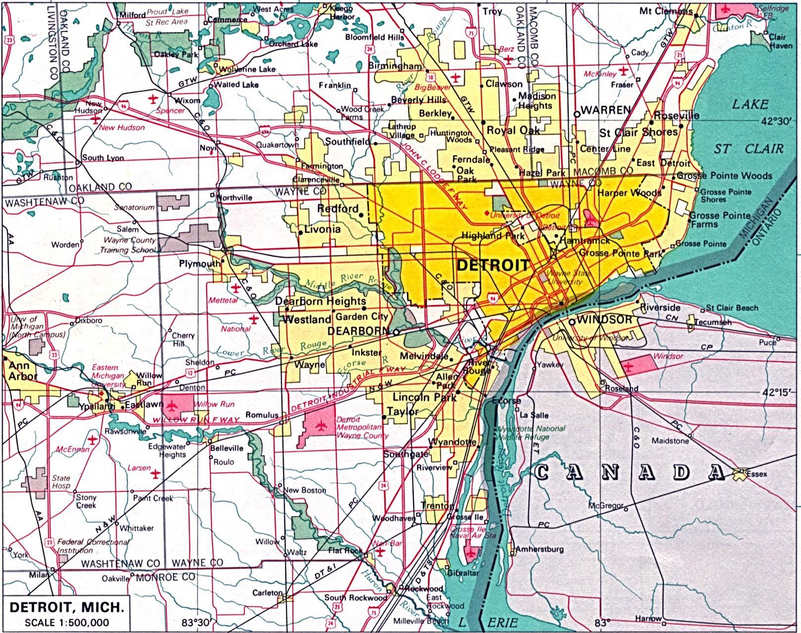 Harta e Detroit dhe periferi Periferi t Detroitit hart Michigan